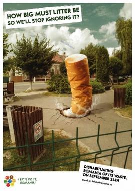 پوستری از کشور رومانی، خطرات افزایش تولید زباله و تراکم آنها