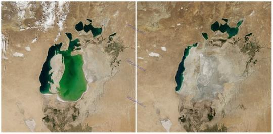 دریاچه آرال، آسیای میانه، آگوست ۲۰۰۰ و آگوست ۲۰۱۴ میلادی