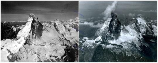 ماترهورن، قله ای در آلپ، بین ایتالیا و سوییس، آگوست ۱۹۶۰، آگوست ۲۰۰۵ میلادی