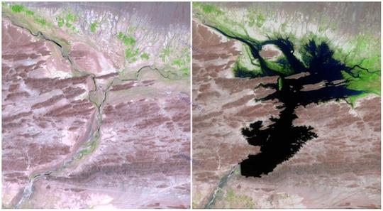 دشت رود، پاکستان، اوت ۱۹۹۹ و ژوئن ۲۰۱۱، سدی در این منطقه وجود دارد که آب نوشیدنی و آب مورد نیاز کشاورزی مناطق اطراف را تأمین می کند.