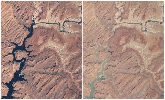 دریاچه پاول، آریزونا و یوتا، مارس ۱۹۹۹ و ۲۰۱۴ میلادی