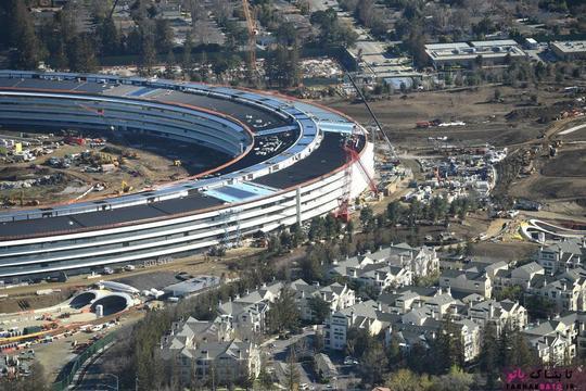 پردیس شماره 2 شرکت اپل در حال ساخت در کوپرتینو؛ عکس هوایی از Noah Berger