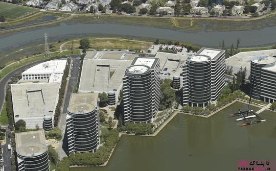 نمایی دیگر از پردیس شرکت اوراکل (Oracle) در ردوود سیتی؛ عکس هوایی از Noah Berger