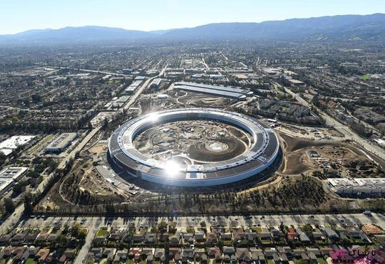 پردیس شرکت اپل (Apple) در حال ساخت؛ عکس هوایی از Noah Berger