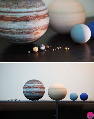 سیاره ها، قمر ها (ماه) و منظومه ی شمسی با چاپ سه بعدی که مناسب قرار دادن روی میز هستند