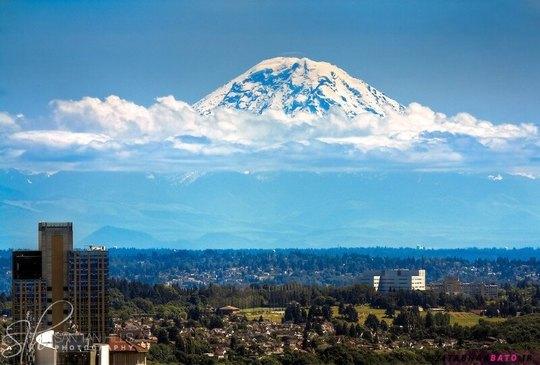 کوه رینیا، سیاتل، که به نظر می رسد بر روی ابرها شنا می کند