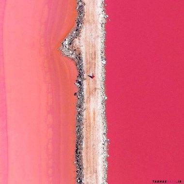 جاده ای در میان دریاچه مرموز هیلیر معروف به دریاچه گل رز، رنگ آن به دلیل وجود باکتری ها و مواد آلی خاص به این شکل در آمده است