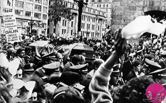 مراسم خاکسپاری «کارلوس گالان»، نامزد ریاست جمهوری کلمبیا که به دست عوامل اسکوبار کشته شد