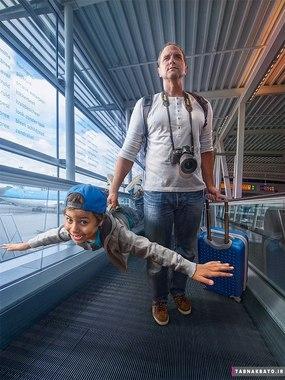 خلق دنیای خیالی یک پدر با فتوشاپ عکس های پسرش