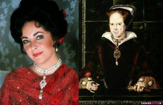 گردنبند ملکه ماری اول بر گردن الیزابت تیلور