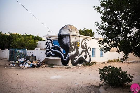 هنرنمایی بر روی دیوارهای روستای قدیمی، تونس