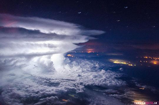 آسمان بر فراز سواحل ونزوئلا در آمریکای جنوبی