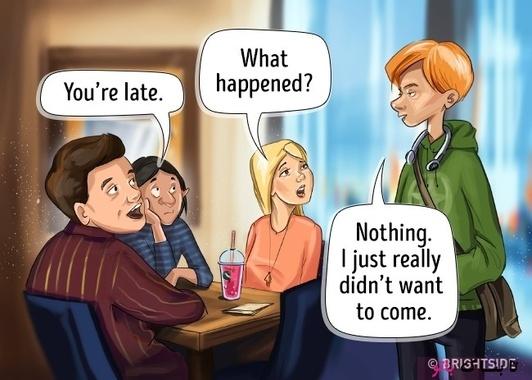 زن مومشکی: دیر کردی  زن بلوند: چی شد؟  پسر: هیچی راستش نمی خواستم بیام.