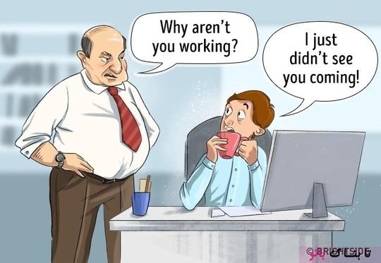 رئیس: چرا کار نمیکنی؟ کارمند: چون ندیدم داری میای.