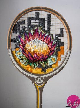هنر گلدوزی روی راکت تنیس