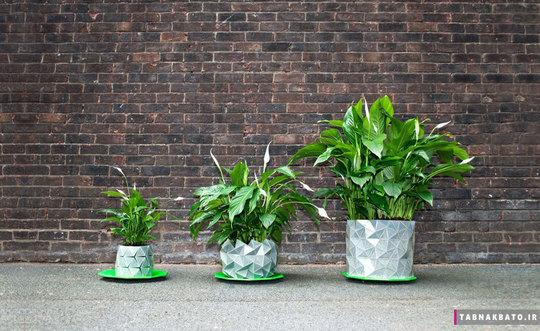 گلدانی که متناسب با گیاه تغییر شکل میدهد و همراه با گیاه خود رشد می کند! این گلدان از هنر اریگامی ژاپنی الهام گرفته شده و همراه با گیاه داخلش رشد و نمو می کند تا خاک و ریشه بیشتری را در خودش جای بدهد