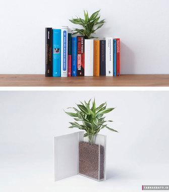 گلدان به شکل کتابخانه و کتاب