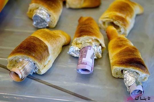 پول های جاسازی شده درون نان شیرینی