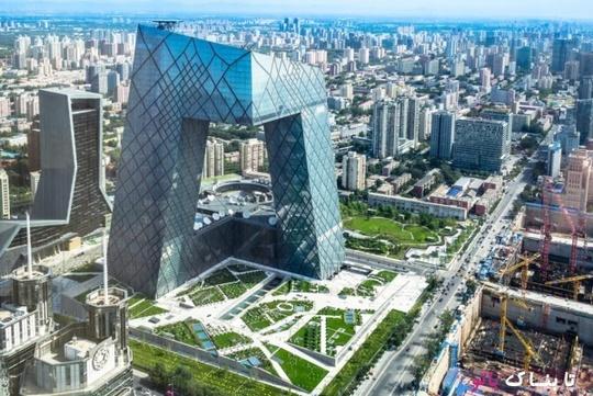 تلویزیون مرکزی چین ـ سومین ساختمان مدرن و شگفتی های معماری چین با شکل هندسی نامنظم. این ساختمان برای مقاومت در برابر زمین لرزه های شدید طراحی شده است.