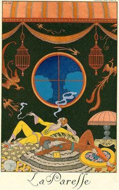 تصویرسازی از تدخین شیره تریاک توسط Georgies Barbier – 1925